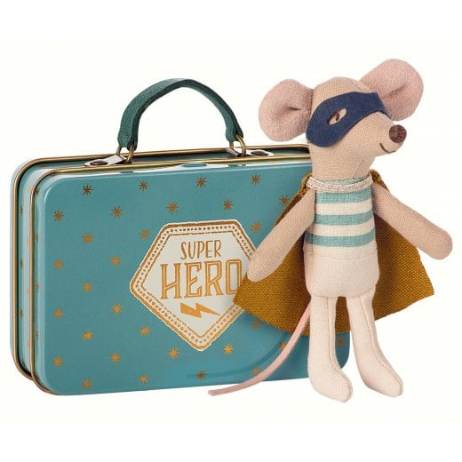 Maileg Superher Mouse in a Suitcase