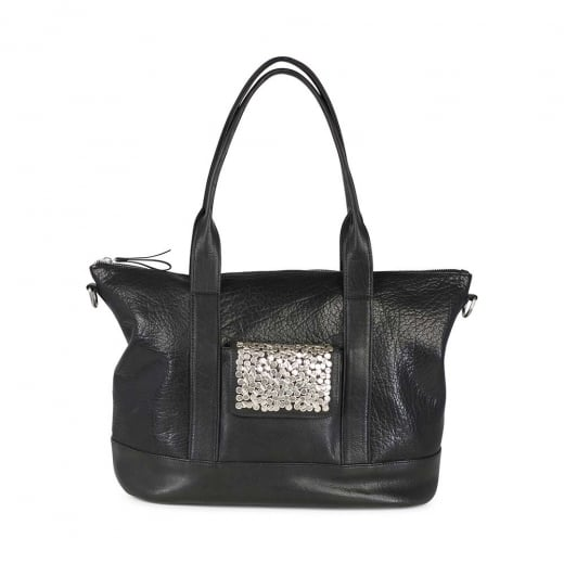 Markberg Black Leather Bag with Silver Rivets