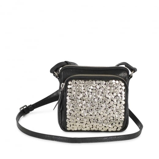 Markberg Black Leather Crossbody Bag with Silver Rivets
