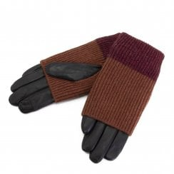 Markberg Helly Glove - Black with Brown/Burgundy Knit