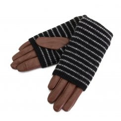 Markberg Helly Glove - Brown with Black Knit /Grey Stripes