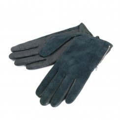 Markberg Sue Glove - Black Leather With Green Suede