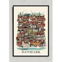 Martin Schwartz Danmark City Poster A3