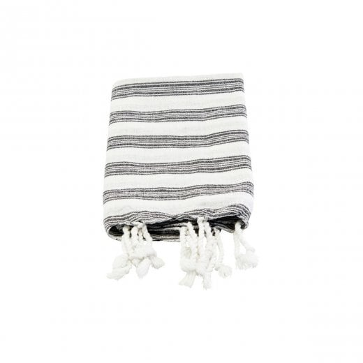 Meraki Hammam Towel - White & Black