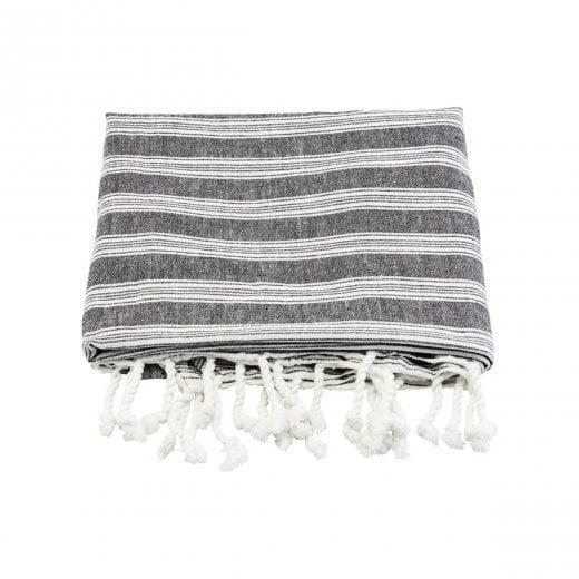 Meraki Large Hammam Towel - Black and White