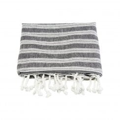 Meraki Large Hammam Towel - Black and White