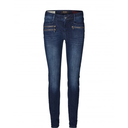 Mos Mosh Blue Denim Jeans with Zip Detail Pockets