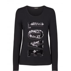 Mos Mosh Long Sleeved Tee with Sequin Detail - Black