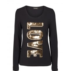 Mos Mosh Long Sleeved Tee with Sequin Detail - Gold