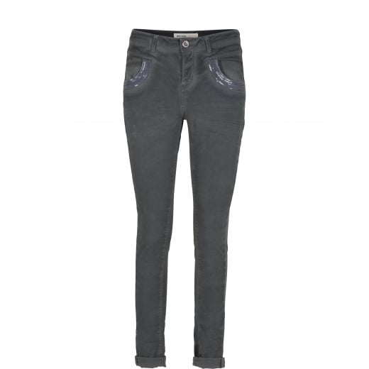 Mos Mosh Naomi Glam Oil Jeans - Steel Grey