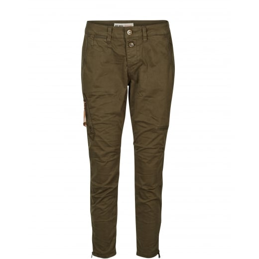 Mos Mosh Valerie 7/8 Cargo Trousers - Army Green