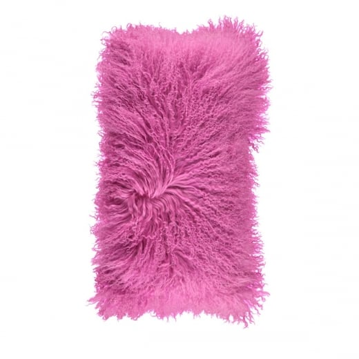Natures Collection Tibetan Sheepskin Cushion - Fuchsia Pink