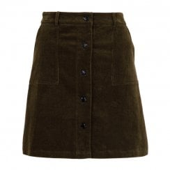 Neo Noir Cinna Mini Cord Skirt - Dusty Army