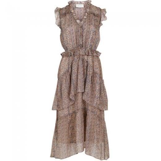 Neo Noir Selma Printed Dress - Beige