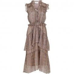 Neo Noir Selma Printed Dress - Beige