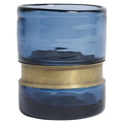 Nordal Ring Glass T-light Holder - Blue