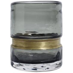 Nordal Ring Glass T-light Holder - Smoke