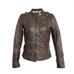 Onstage Leather Biker Jacket with Hidden Zip