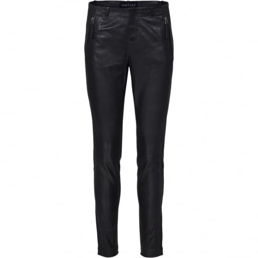 Onstage Leather Trousers with Jersey Back - Night Blue
