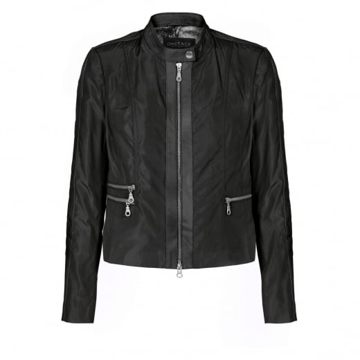Onstage Nylon Jacket with Leather Trim
