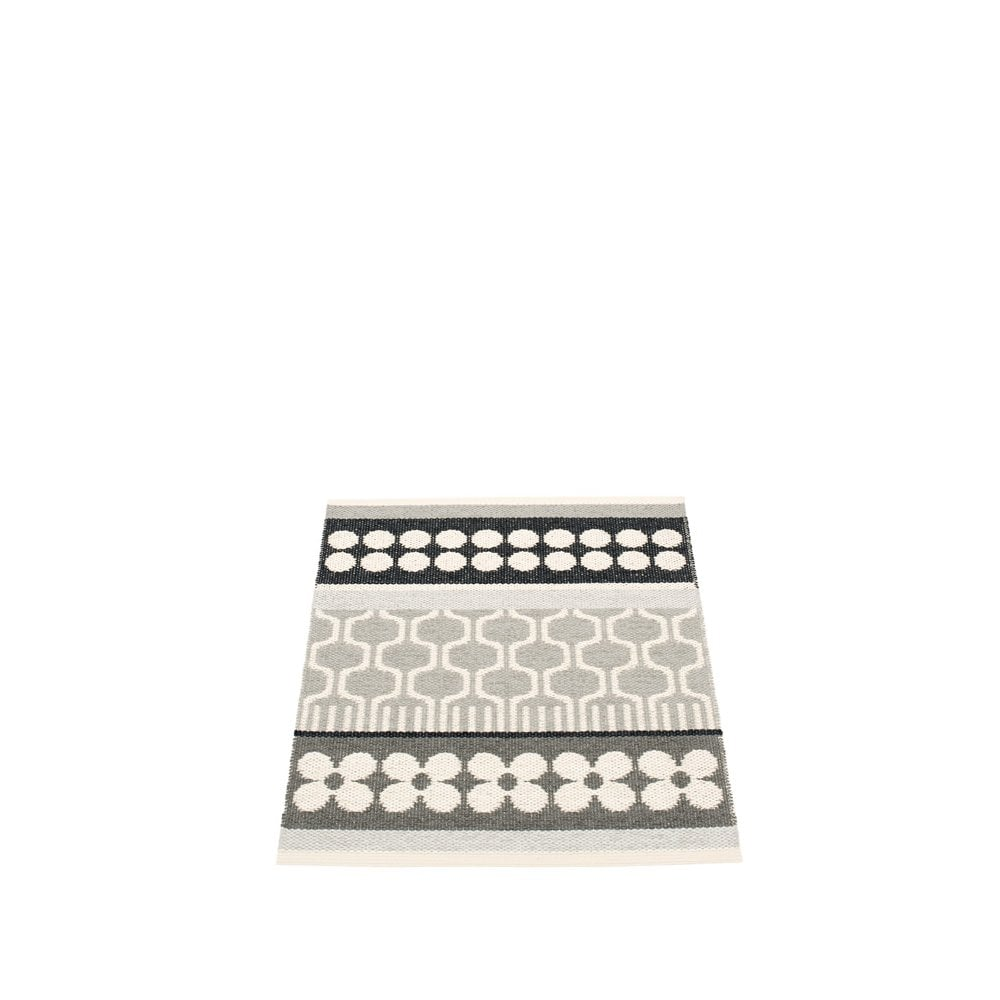 Pappelina Combination Pattern Mat Rug Warm Grey Black