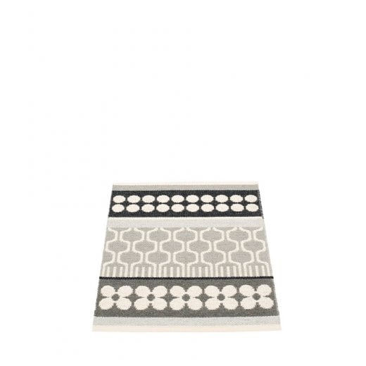Pappelina Combination Pattern Mat/Rug - Warm Grey/Black