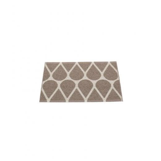 Pappelina Drop Design Mat/Rug - Dark Mud/Linen