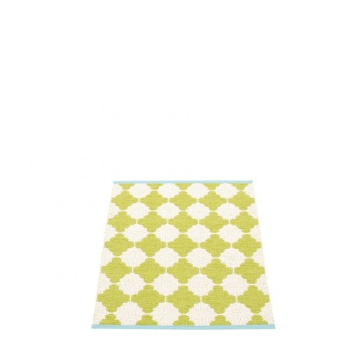 Pappelina Grid Pattern Mat/Rug - Lime/Vanilla