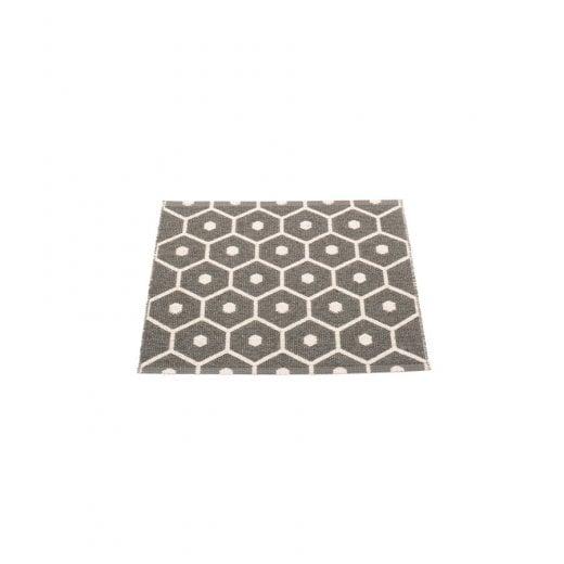 Pappelina Honeycomb Design Mat/Rug - Charcoal/Vanilla