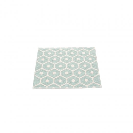 Pappelina Honeycomb Design Mat/Rug - Pale Turquoise/Vanilla