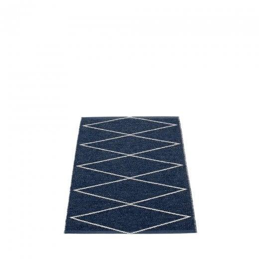 Pappelina Zig Zag Design Mat/Rug - Dark Blue/Vanilla