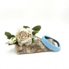 Pico Dahlia Velour HairBand  - Aqua