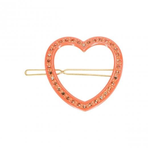 Pico Heart Diamond Hair Pin - Coral