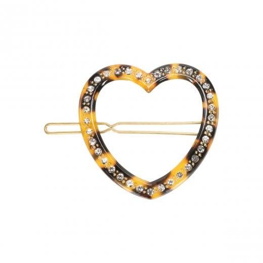 Pico Heart Diamond Hair Pin - Leopard
