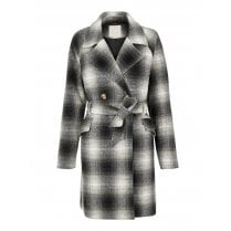 Pieces Coat Checked With Belt - Grey