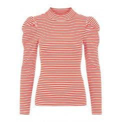 Pieces Thin Stripe TShirt  - Tomato Red/Bright White