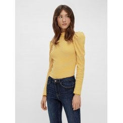 Pieces Thin Stripe TShirt  - Yellow/Bright White