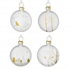 Räder Silver Glass Designed Bauble - Bird & Wreath