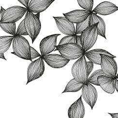 Räder White Napkin With Black Blossoms