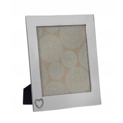 """Retreat Photo frame Nickel with etched heart 8x10"""" aperture"""