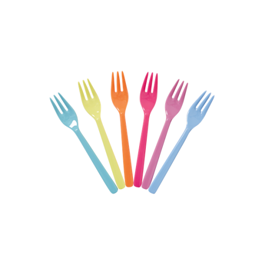 Rice 6 Melamine Forks in Assorted Colours