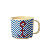 Rice Baby Melamine Cup with Sailor Stripe and Anchor Print
