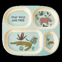 Rice Kids 4 Room Plate with Jungle Print