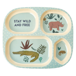 Rice Kids 4 Room Plate with Jungle Print