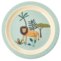 Rice Kids Lunch Plate with Blue Jungle Print