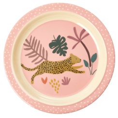 Rice Kids Pink Plate with Jungle Print