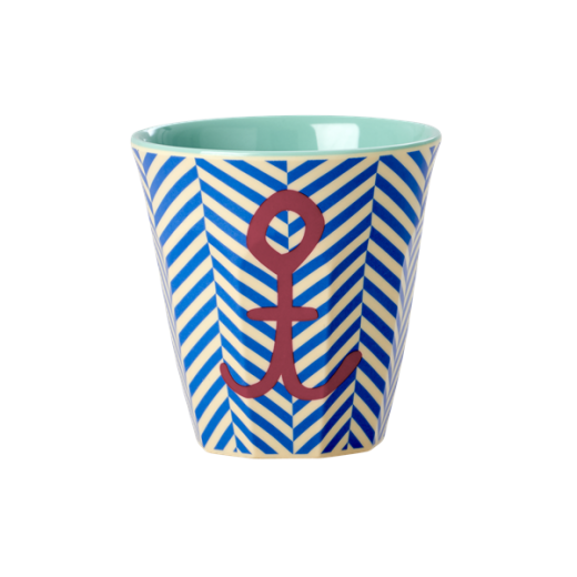 Rice Kids Small Melamine Cup with Sailor Stripe and Anchor Print
