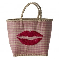 Rice Large Pink Vichy Fantasy Bag With Kiss Embroidery