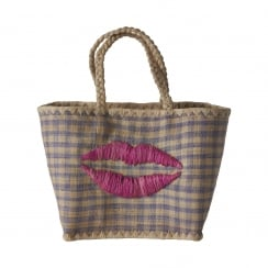 Rice Medium Blue Vichy Fantasy Bag With Kiss Embroidery