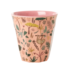 Rice Medium Cup in Pink with Jungle Print